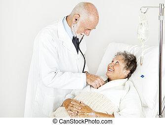 läkar undersökande, från, stilig, läkare