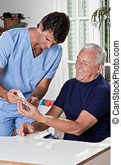 läkare, att ta blod prov