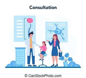 läkare, concept., neurologen, undersöka, brain., idé, mänsklig