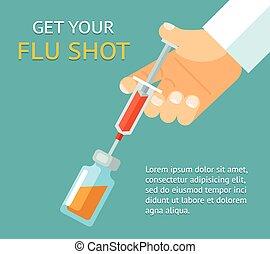 läkare, få, skott., influensa, hand, injektionsspruta, din
