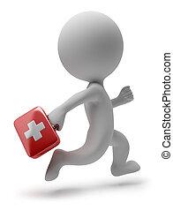 läkare, folk, -, spring, liten, 3