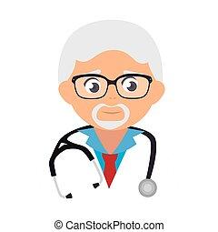 läkare, gammal, läkare, man