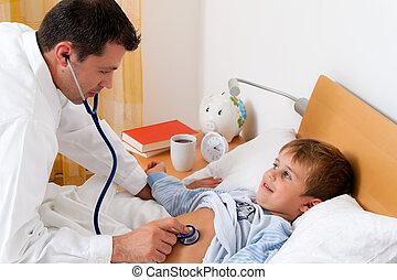 läkare, hem, visit., undersöka, sjuk, child.