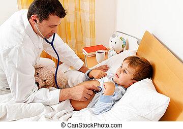 läkare, hus, call., undersöka, sjuk, child.