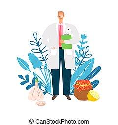 läkare, illustration, homeopat