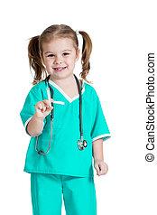 läkare, isolerat, leka, bakgrund, injektionsspruta, flicka, vit, unge