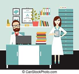läkare, kontor, vektor, workplace., lägenhet, illustration...