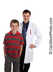 läkare, le, tålmodig, lycklig