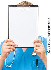 läkare, med, a, tom, in, den, räcker, av, den, inskrift