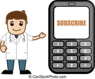 läkare, medicinsk, &, -, abonnera, vektor