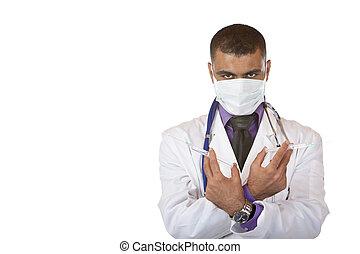 läkare, medicinsk, rökkanal, ung, swine, injektion, manlig