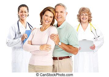 läkare, och, elderly kopplar ihop