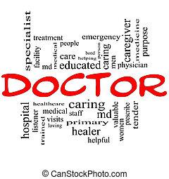 läkare, ord, moln, begrepp, in, röd, och, svart