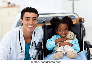läkare, portion, a, sjuk barn