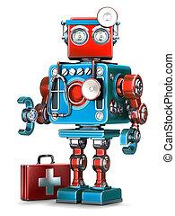 läkare, robot., teknologi, concept., isolated., innehåll, snabb bana