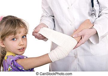 läkare, skänka, första hjälpen, av, child.
