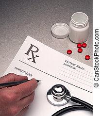 läkare, skrift, ute, rx, recept