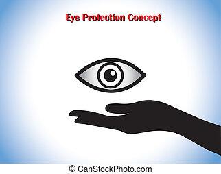läkare, skydd, ögon, hand, begrepp