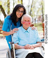 läkare, vårda patient, äldre