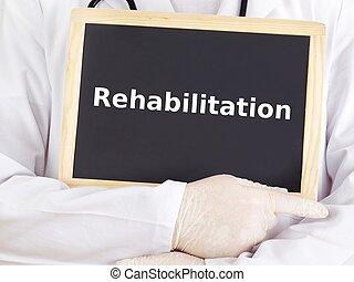 läkare, visar, information:, rehabilitering