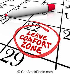 lämna, komfort, zon, circled, kalender, dag, datera