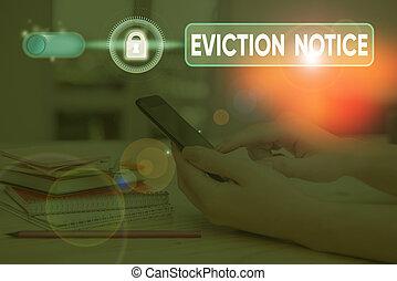 lämna, skrift, property., text, notice., någon, begrepp, ...