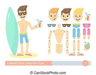 lämplig, ung, tecken, konstruktör, strand, man