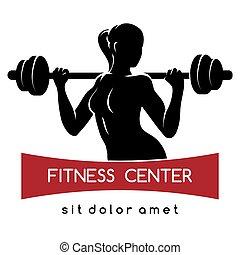 lämplighet centrera, eller, gymnastiksal, logo