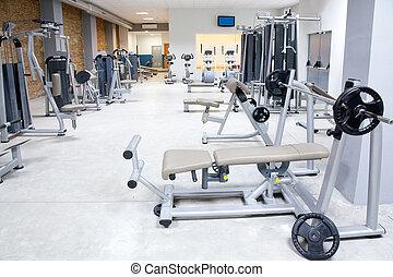 lämplighet klubb, gymnastiksal, med, sport, utrustning, inre