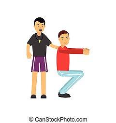 lämplighet tränare, fästen, utbildning sammanträde, med, ung man, grabb, gör, satt