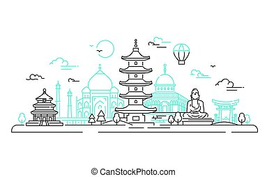 länder, resa, -, illustration, vektor, asiat, fodra
