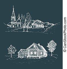 ländlich, russische, set., birches., skizzen, kirche, landschaftsbild, vektor, countryside., illustrationen, hand, gezeichnet, dorf