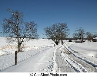 ländlich, schnee, straße