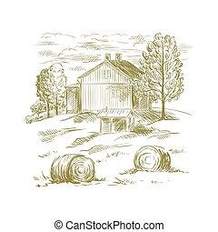 ländlich, skizze, landschaftsbild
