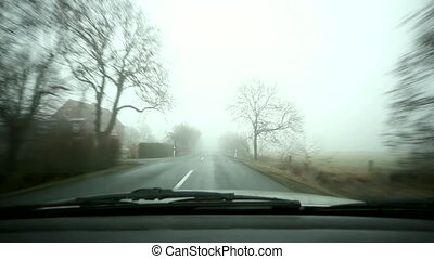 ländlicher weg, reise, -, nebel