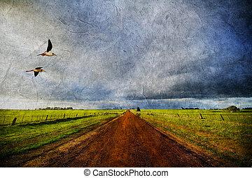 ländlicher weg, und, vögel, in, alter stil