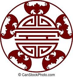 längd, kinesisk, illustration, symboler, välsignelser, fem
