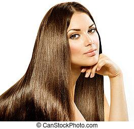 länge, rak, hair., vacker, brunett, flicka, isolerat, vita