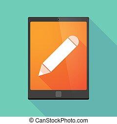 länge, skugga, skrivblock persondator, ikon, med, a, blyertspenna