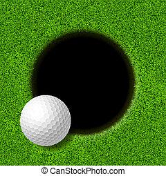 läpp, boll, golf, kopp