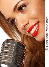 läpp, mikrofon, röd