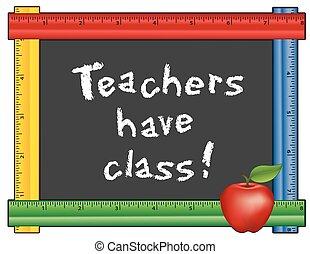 lärare, ha, linjal, ram, class!