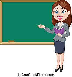 lärare, kvinnlig, stående, tecknad film, nex