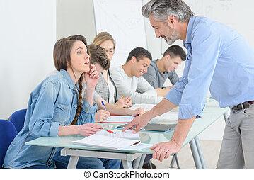 lärare, med, deltagare