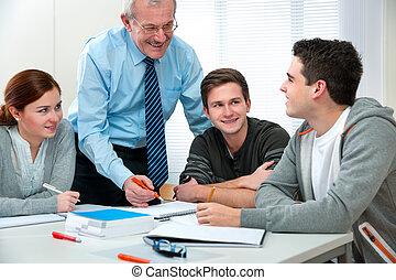 lärare, med, deltagare, in, klassrum