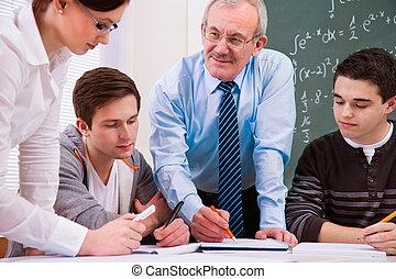 lärare, med, kickskola, deltagare