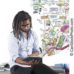 lärare, studera, grafer