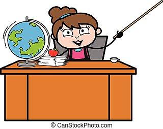 lärare, tecknad film, kosmetolog
