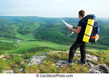 läsa, fjäll, map., turist, man