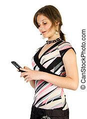 läsa, flicka, sms, nätt